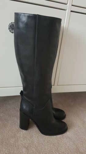 Dune Leather New High Size 5 Black Boots
