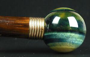 Canne-laurie-amp-pommeau-de-quartz-Oeil-de-faucon-Hawk-Eye-laurel-pommel-cane-1900