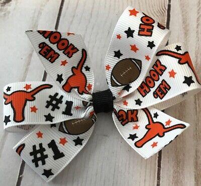 TaylorMade Custom Pinwheel hair Bow TX Longhorns football New