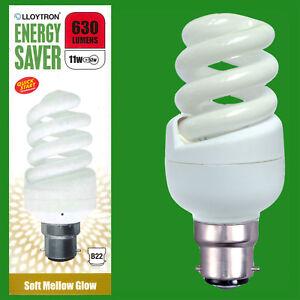 2x 5 W 240 LM Low Energy Power Saving CFL Mini GLS Light Bulb BC b22 BAYONET LAMP