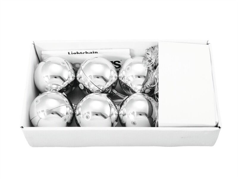 6x EUROPALMS LED DI NATALE NATALE NATALE SFERA 6cm, argentoo, palline albero di Natale 1dc86a