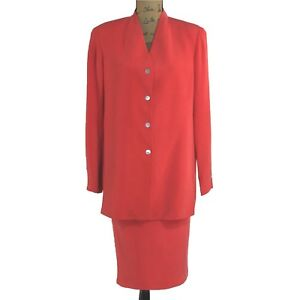 VTG-Mondi-Collection-Escada-Suit-8-10-L-Silk-Red-Long-Blazer-Jacket-Pencil-Skirt