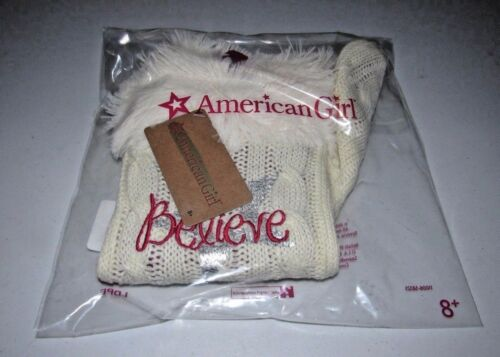 AMERICAN GIRL GOLD CABLE KNIT BELIEVE CHRISTMAS STOCKING .. SHIPS ASAP!