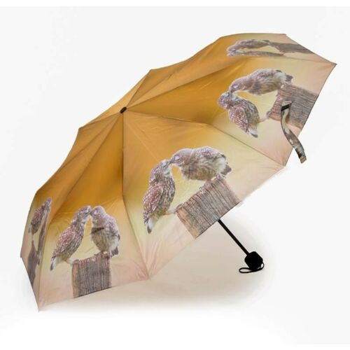 Country Matters Folding Telescopic Umbrella Kissing Owls Birds Mini Gifts NEW