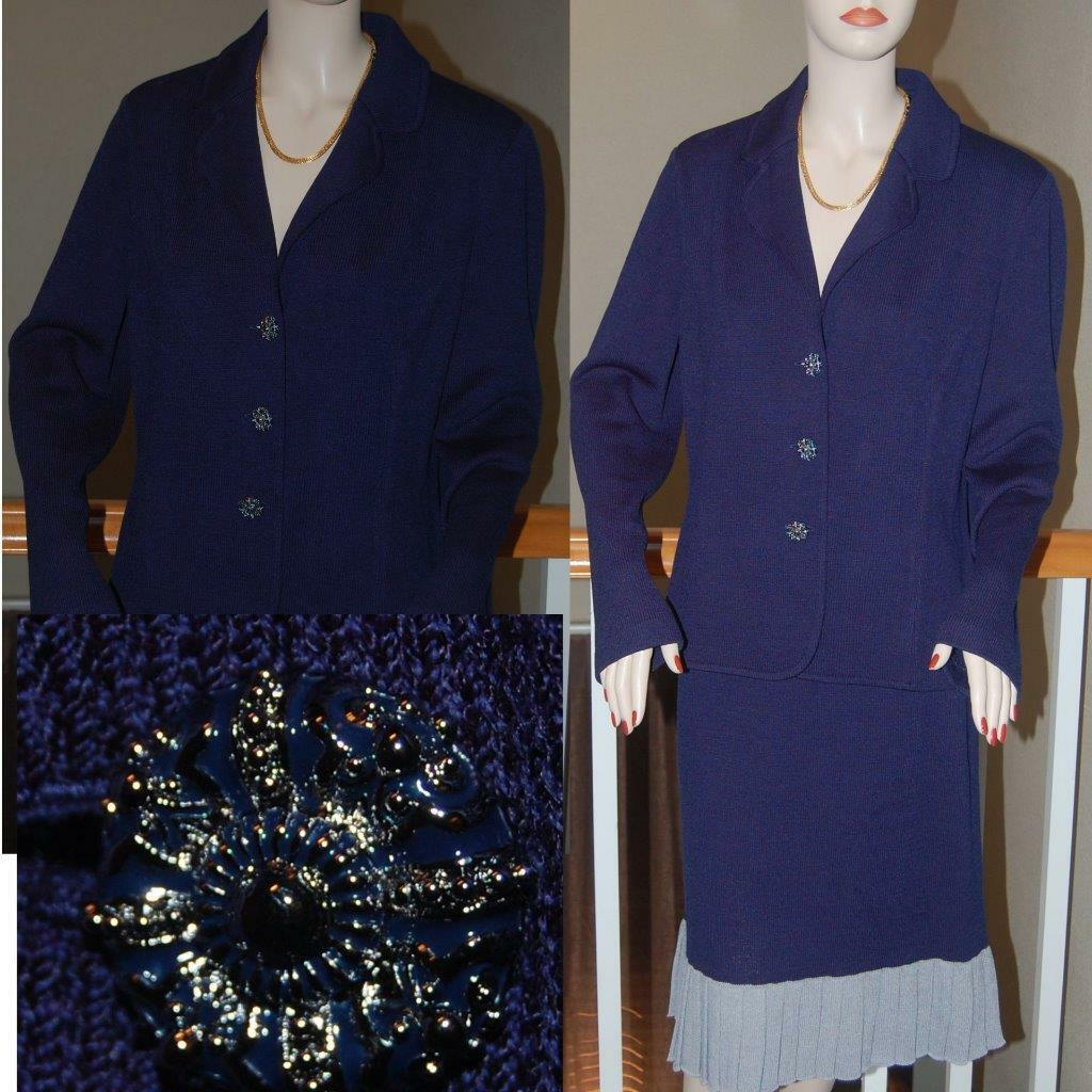 NWTS ST. JOHN KNIT AMAZING ICE blueE SANTANA KNIT COLLECTION SKIRT SUIT SZ 14 XL