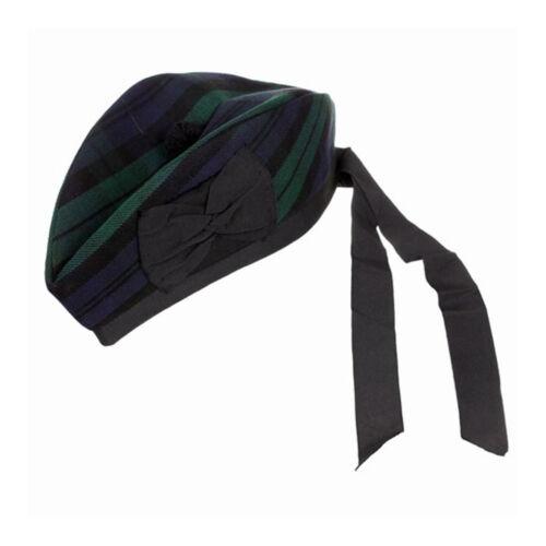 NUOVO Cappello Scozzese Piper 100/% pura lana Glengarry-Nero Orologio-misura a scelta