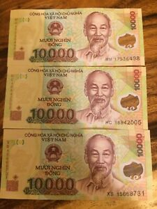 10 x 10,000 Vietnam Dong New Polymer Banknotes UNC Uncirculated = 100,000 VND