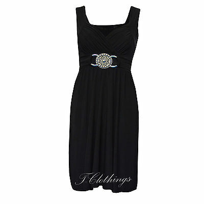 Womens 3/4 Length Sleeveless Brooch Detail Ladies Plus Size Party Dress UK 16-26