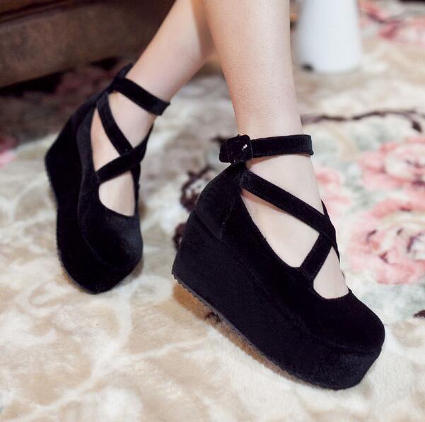 Ladies Velvet Platform Wedge Cross Strappy Round Toe Pumps Lolita Preppy shoes