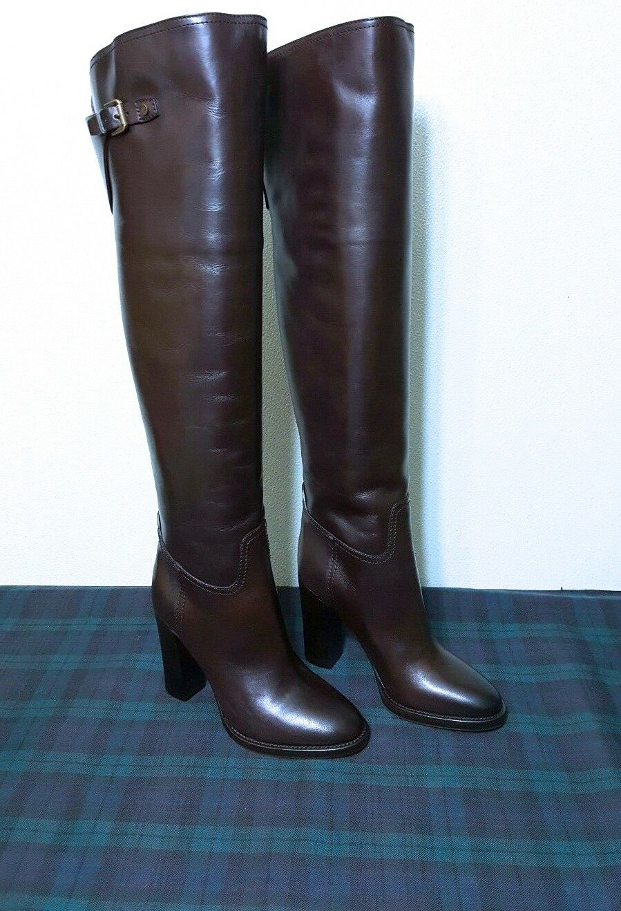 Ralph Lauren Collection Donna Brown Calfskin Halara Over-The-Knee Boot Boot Boot Sz:5.5B 1390b6