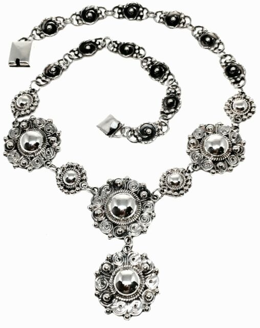 VINTAGE STYLE TAXCO MEXICAN 925 STERLING SILVER DECO BEAD BEADED NECKLACE MEXICO
