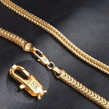 """18k Yellow Solid Gold Filled Chain Necklace 20"""" 6mm Thick Men's Women's Jewelry"""