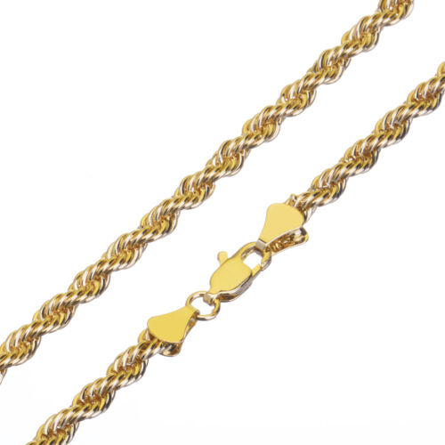 Fashion Hip Hop 14K Yellow Gold Plated Thin Short 4 mm Rope Chain Necklace 20