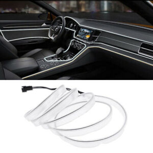 12V-2M-coche-LED-el-alambre-frio-ambiente-interior-Lampara-de-luz-de-neon-luz-blanca