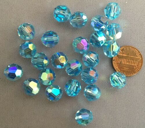 10mm AQUAMARINE BLUE AB Round Swarovski Crystals Style 5000 24 TWENTY-FOUR