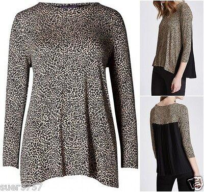 New Ex M/&S Leopard Print Black Beige Pleat Back 3//4 Sleeve Jersey Size 14-24