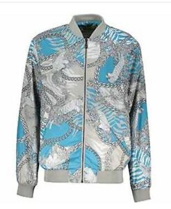 Versace Jeans Grey   Blue Baroque   Chain Print Bomber Jacket Sz UK ... 0d2d030bbe9