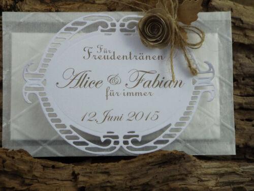 20 Freudentränen Taschentücher Hochzeit Taufe vintage Rosebud weiß taupe Spitze