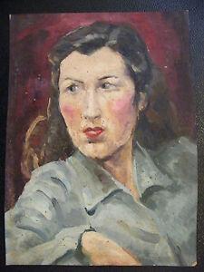 Gouache-sur-Papier-Portrait-de-Femme-Andre-Simon-1926-2014-Artiste-Lorrain