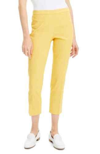 Theory Eco Crunch Golden Yellow Linen Cropped Pant