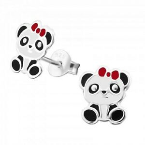 Childrens-Girls-Sterling-Silver-Panda-Red-Bow-Stud-Earrings-Boxed
