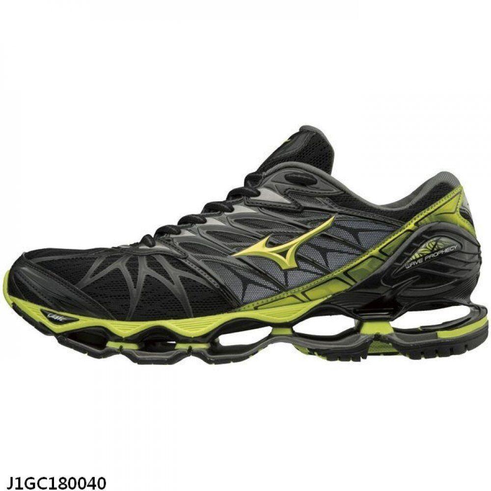 Mizuno Wave Prophecy 7 Black Yellow Men Running Shoes Tenis J1GC180040
