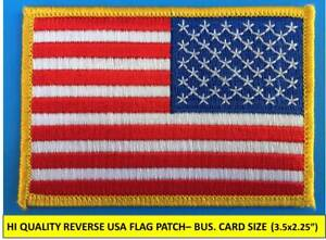 REVERSE-USA-AMERICAN-FLAG-EMBROIDERED-PATCH-IRON-ON-SEW-ON-GOLD-BORDER-3-x-2