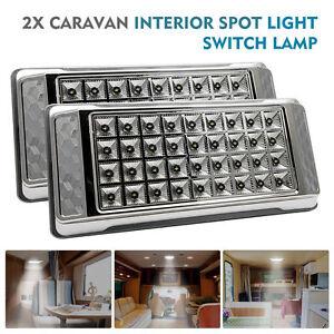 2x-12V-36-LED-Interior-Ceiling-Cabin-Spot-Light-For-Caravan-Camper-Boat-Light-AU
