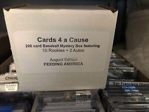 200 Card random Baseball Box 1 Auto +10 Rookies + charity donation 1960s - 2020