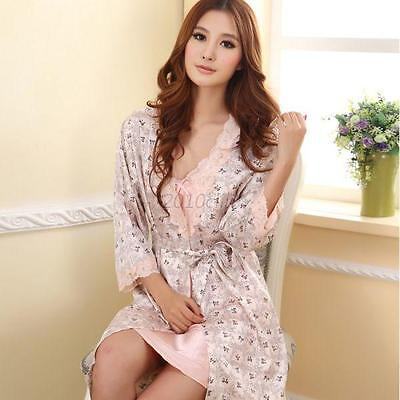 women halter dress + Silk satin Pajama Sleepwear Long Robes Gown Nightwear C60