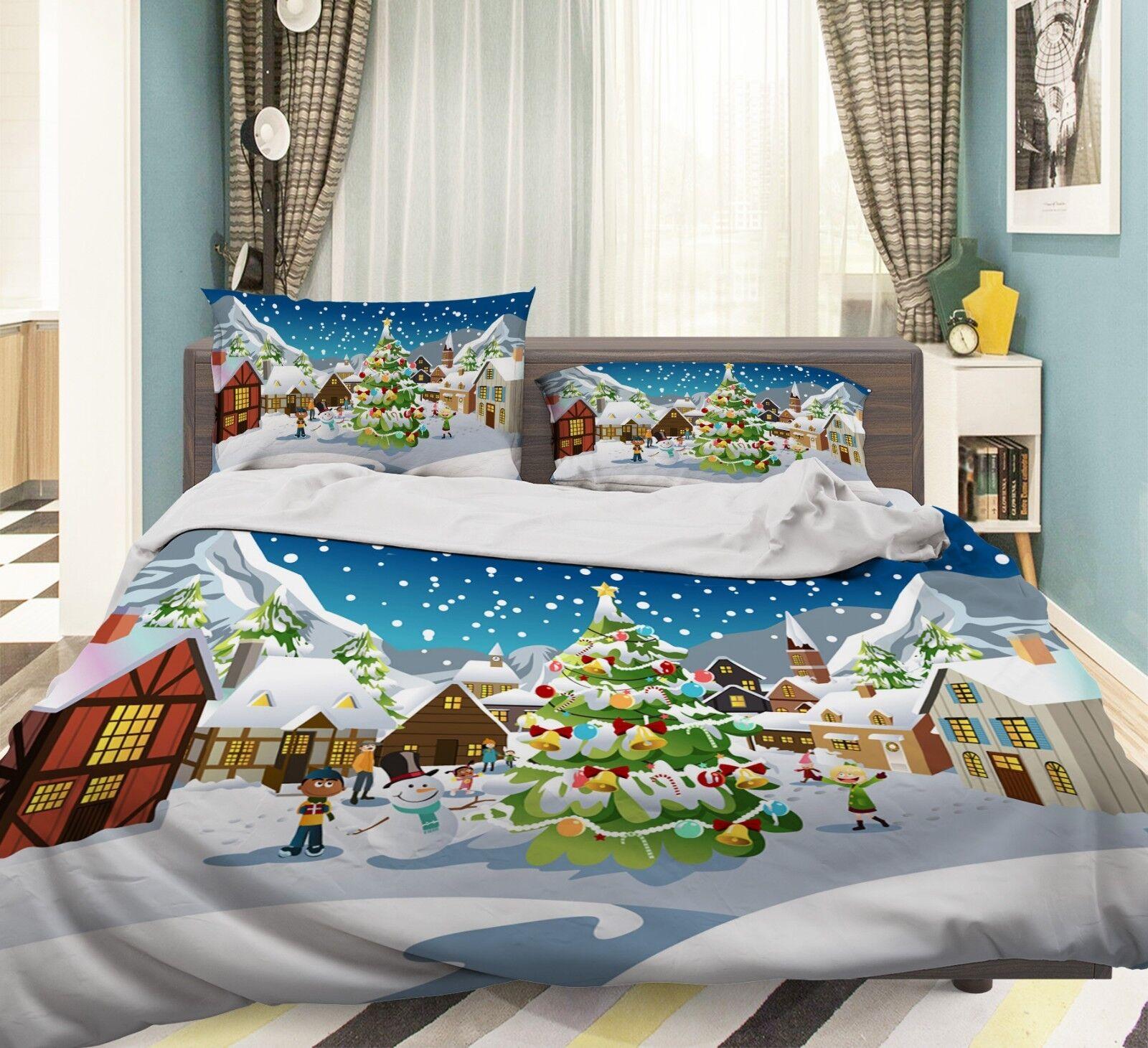 3D Christmas Xmas Town 49 Bed Pillowcases Quilt Duvet Cover Set Single King UK
