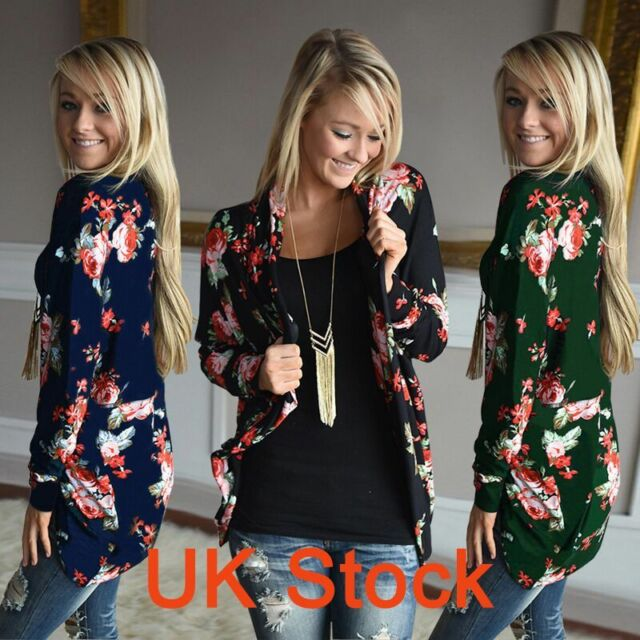 Women Outwear Boho Irregular Long Sleeve Cardigans Loose jacket Tops UK 10-18