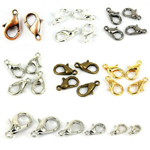 50-100Pcs-Silver-Gold-Bronze-Lobster-Claw-Clasps-Hooks-Finding-DIY-10-12-14-16mm