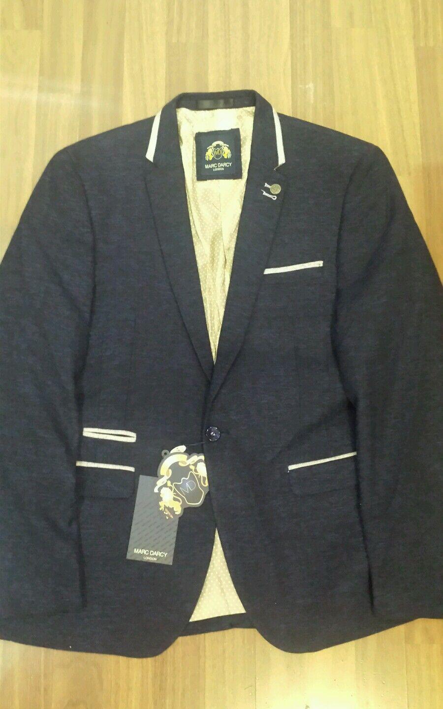 Mens designer Marc Darcy Harrington tweed glen blazer  bluee size 46R sale cheap