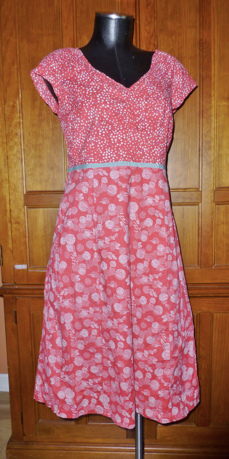 BODEN Mix Printed Cotton Hotchpotch High waist DRESS size 6 L US  10 L UK