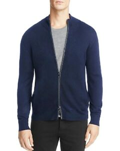 NEW-198-MICHAEL-KORS-BERRY-BLUE-WOOL-BLEND-LEATHER-PIPED-SLIM-SWEATER-JACKET
