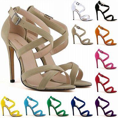Womens High Heel Ankle Strap Stilettos Sandals Pumps Size US 4-11
