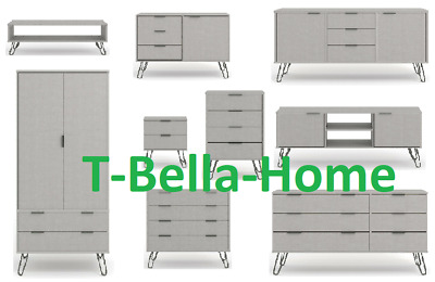 Augusta White Bedroom /& Living Room Furniture with Grey Metal Hairpin Legs