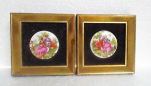 Vintage Pair Fragonard Porcelain Miniatures in 3 1/2 Inch Frames