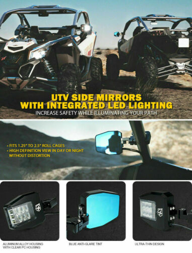 Xprite UTV Rear View Side Mirrors Kit with LED Rock Light for UTV Polaris RZR XP