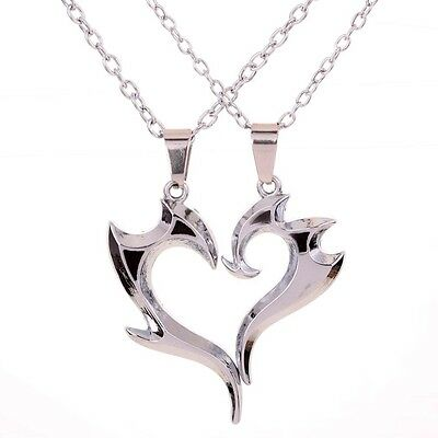 Stainless Steel Unique Magic Wand Design Heart Shape Pendant Couple Necklace