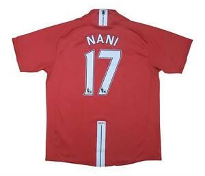 Manchester United 2007-09 ORIGINALE Maglietta NANI #17 (bene) L soccer jersey