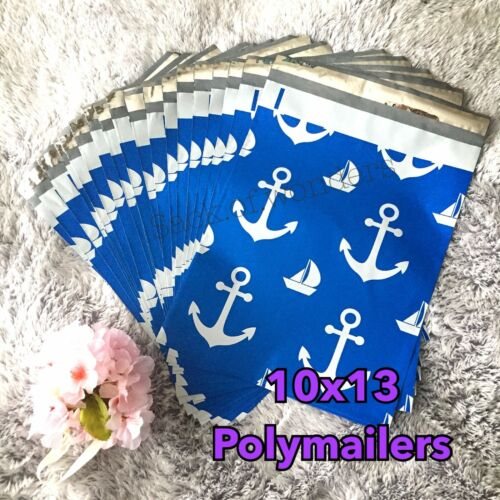 20 Designer Printed Poly Mailers 10X13 Shipping Envelopes Bags BLUE ANCHOR