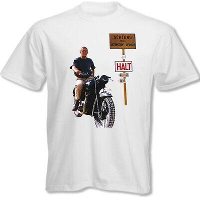 Steve Mcqueen - The Great Escape - Mens Retro Old Movie T-Shirt Motorbike Bike