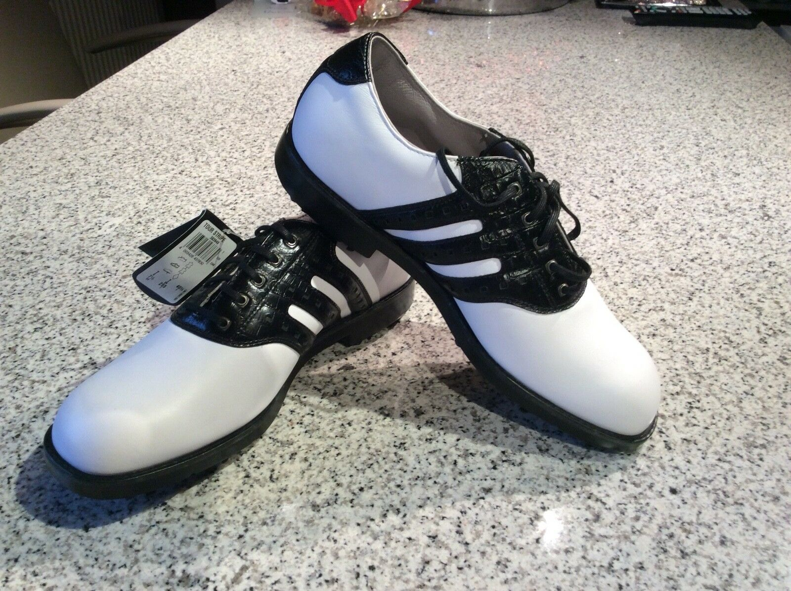 adidas Neu Golfschuhe weiss schwarz Leder Neu adidas Gr. D 7 d59fa2