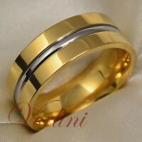 Titanium Wedding Ring 14k Gold Band Bridal Jewelry Silver Color Line Size 6-13