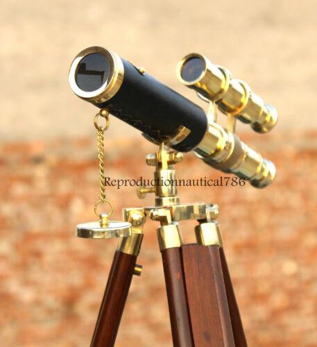 Desktop Double Barrel Brass Telescope With Wooden Tripod Vintage Marine Scope G