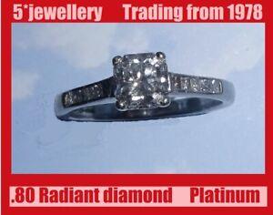 Platinum natural Radiant solitaire & princes cut diamond ring new not scrap
