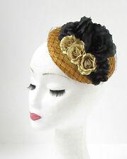 schwarz gold Netz Rose Blume Kopfschmuck Rennen Hut Kopfbedeckung Vintage