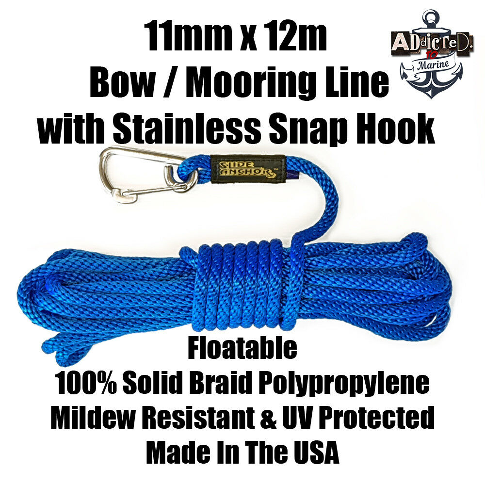 Docking Braid Dock Rope 11mm x 12.1m  40ft Polyproplylene Bow Line blauw